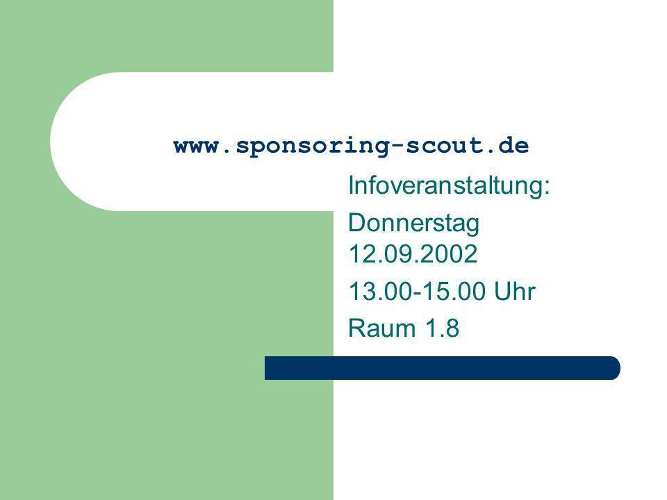 Infoveranstaltung: Donnerstag 12.09.2002 13.00-15.00 Uhr Raum 1.8
