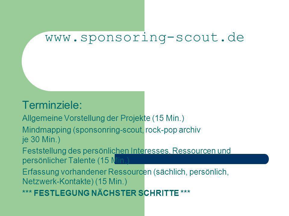 www.sponsoring-scout.de Terminziele: