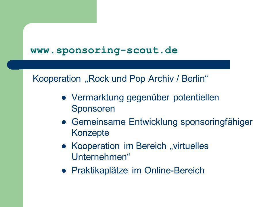 """www.sponsoring-scout.de Kooperation """"Rock und Pop Archiv / Berlin"""