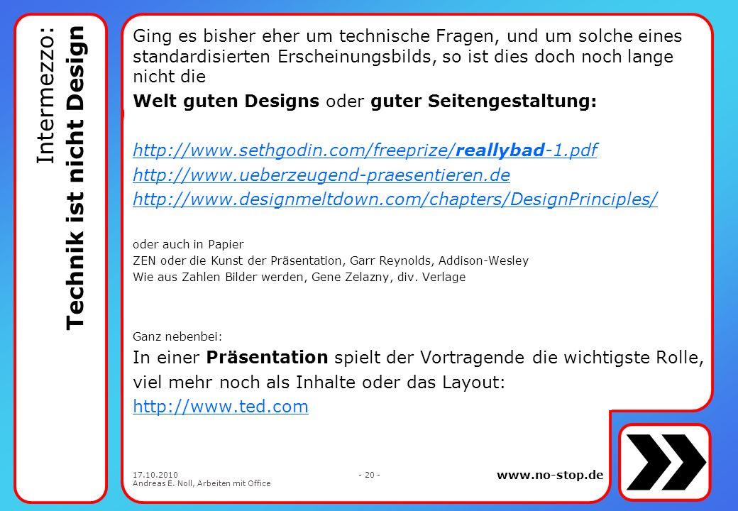 Intermezzo: Technik ist nicht Design