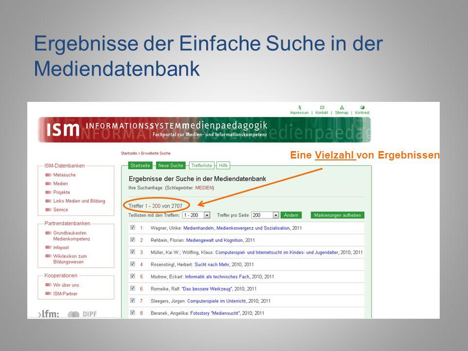 Ergebnisse der Einfache Suche in der Mediendatenbank