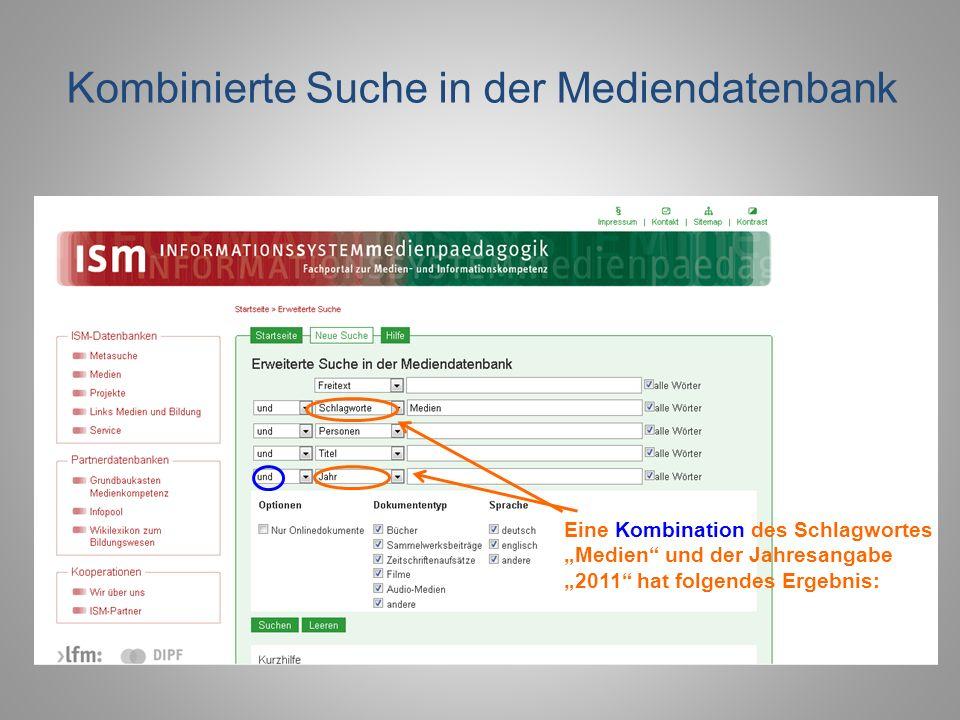 Kombinierte Suche in der Mediendatenbank