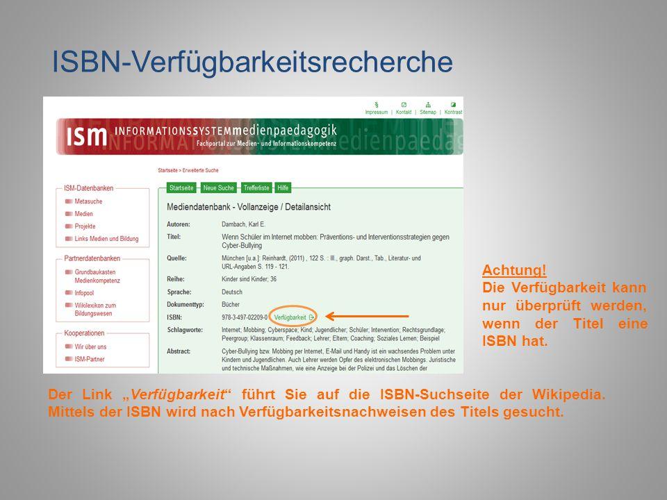 ISBN-Verfügbarkeitsrecherche