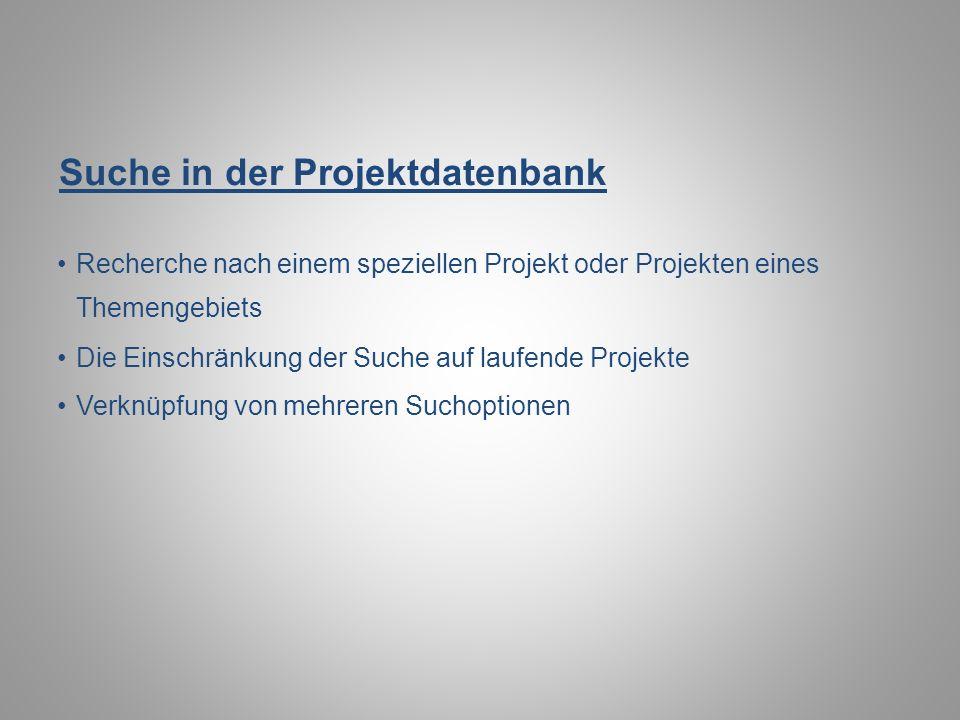 Suche in der Projektdatenbank
