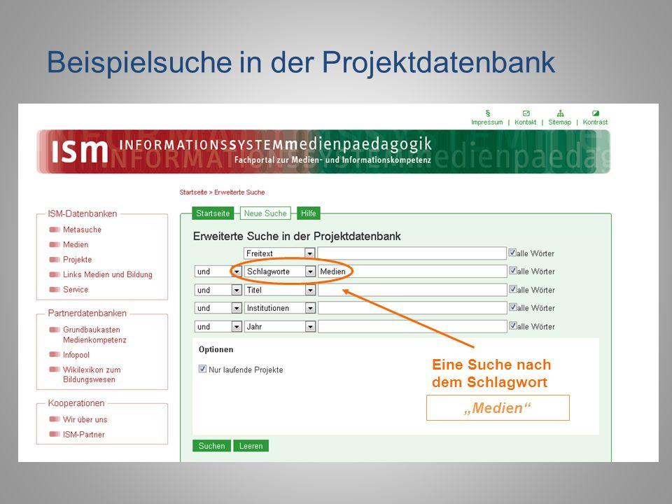 Beispielsuche in der Projektdatenbank