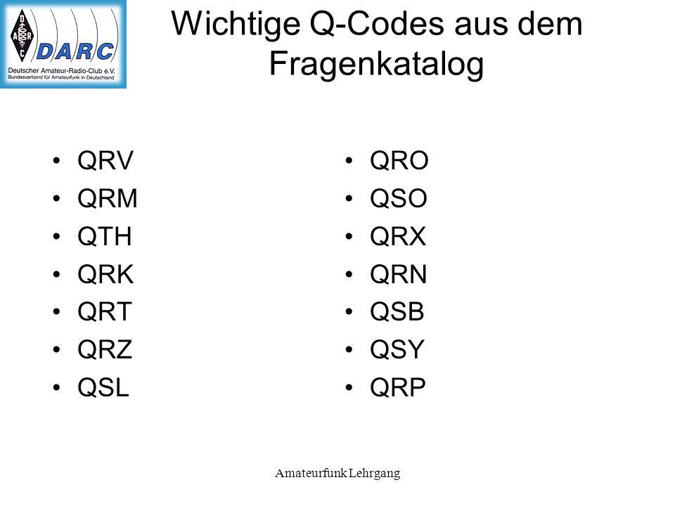 Wichtige Q-Codes aus dem Fragenkatalog