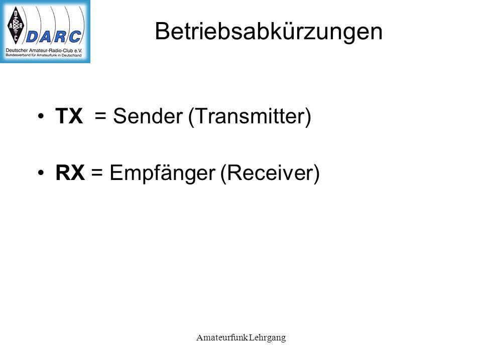 Betriebsabkürzungen TX = Sender (Transmitter)