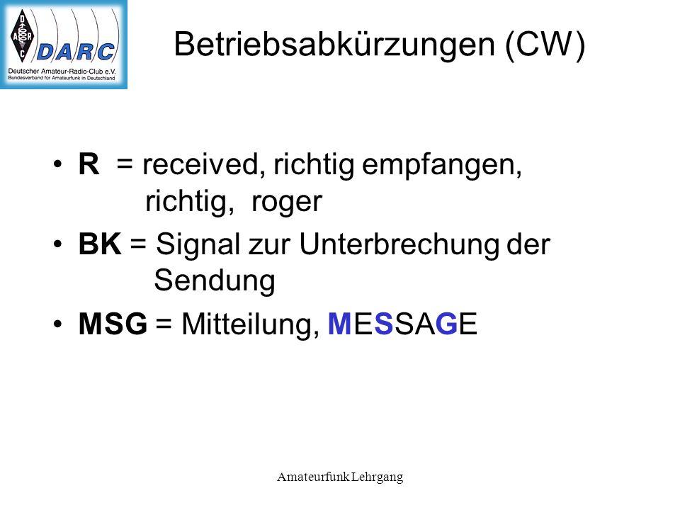 Betriebsabkürzungen (CW)