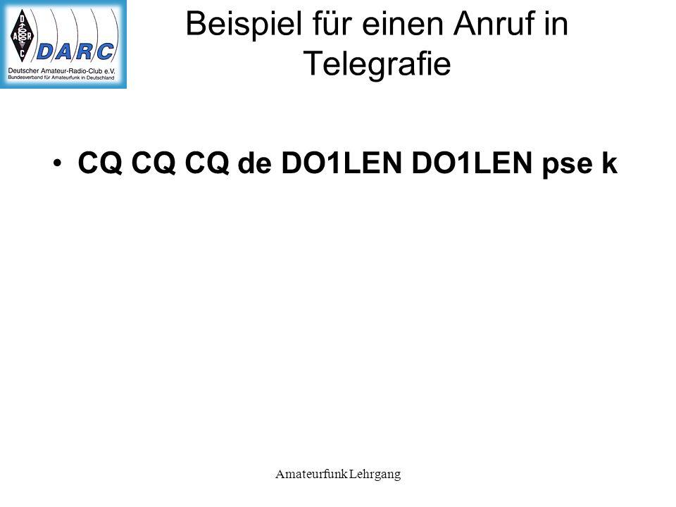 Beispiel für einen Anruf in Telegrafie