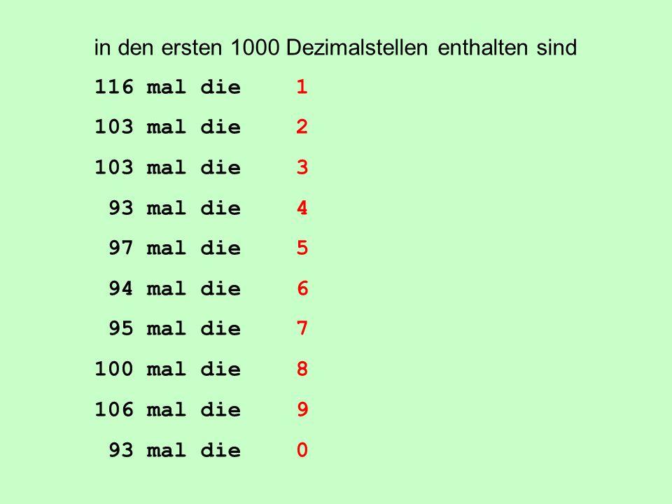 in den ersten 1000 Dezimalstellen enthalten sind
