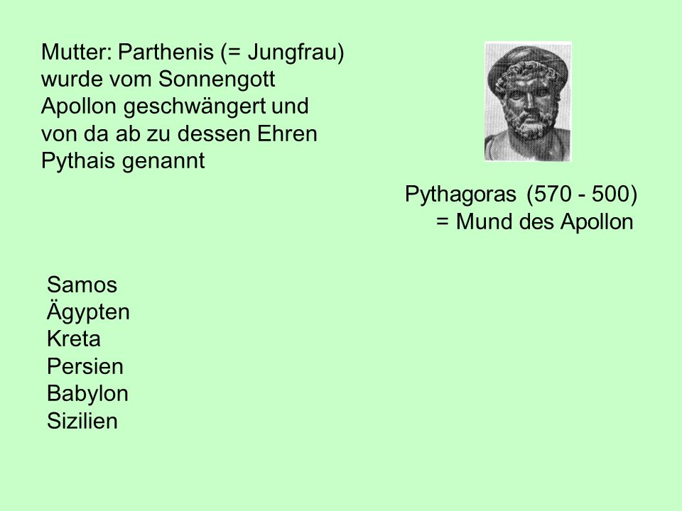 Mutter: Parthenis (= Jungfrau)