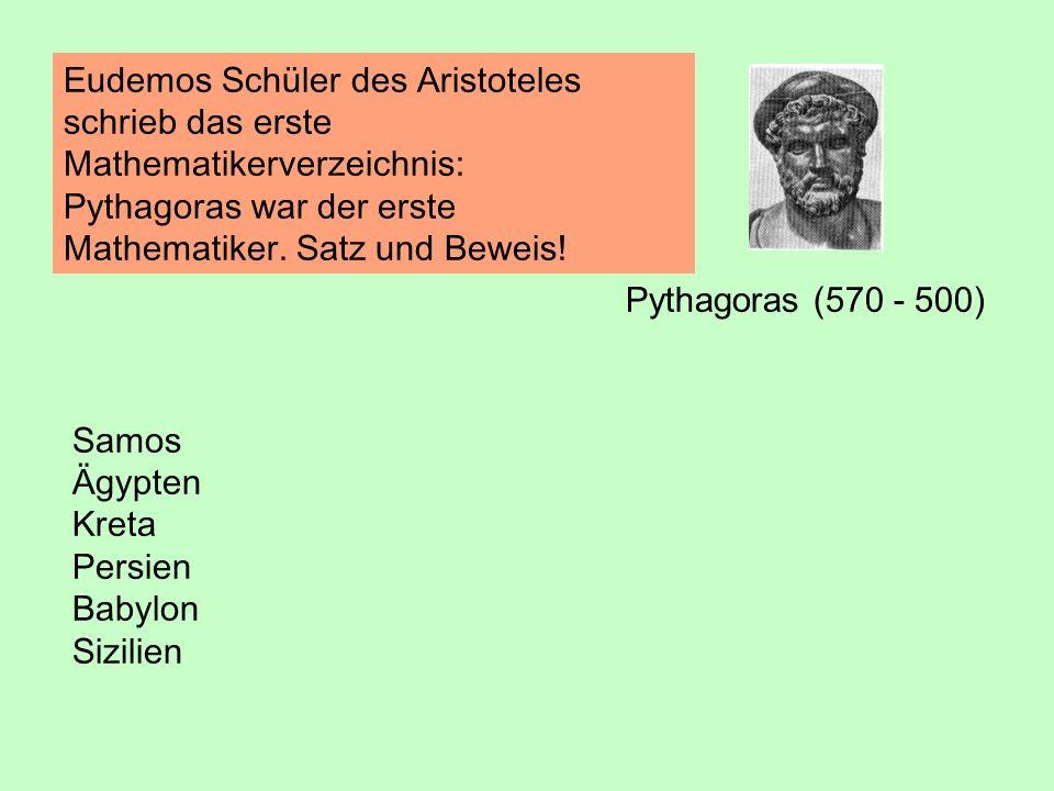 Eudemos Schüler des Aristoteles schrieb das erste Mathematikerverzeichnis: