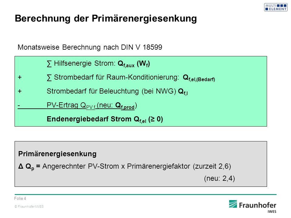 Berechnung der Primärenergiesenkung