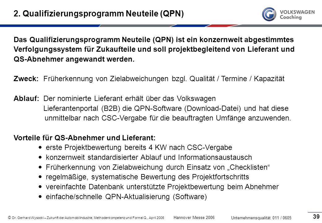 2. Qualifizierungsprogramm Neuteile (QPN)