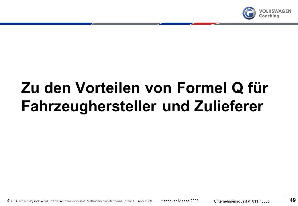 Zu den Vorteilen von Formel Q für Fahrzeughersteller und Zulieferer