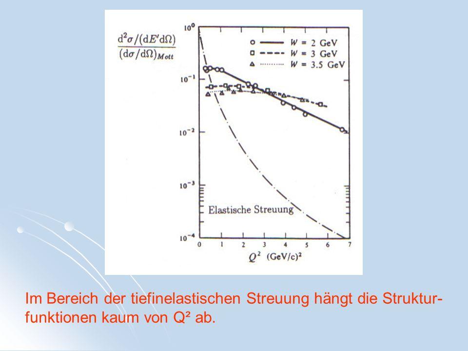 Im Bereich der tiefinelastischen Streuung hängt die Struktur-funktionen kaum von Q² ab.