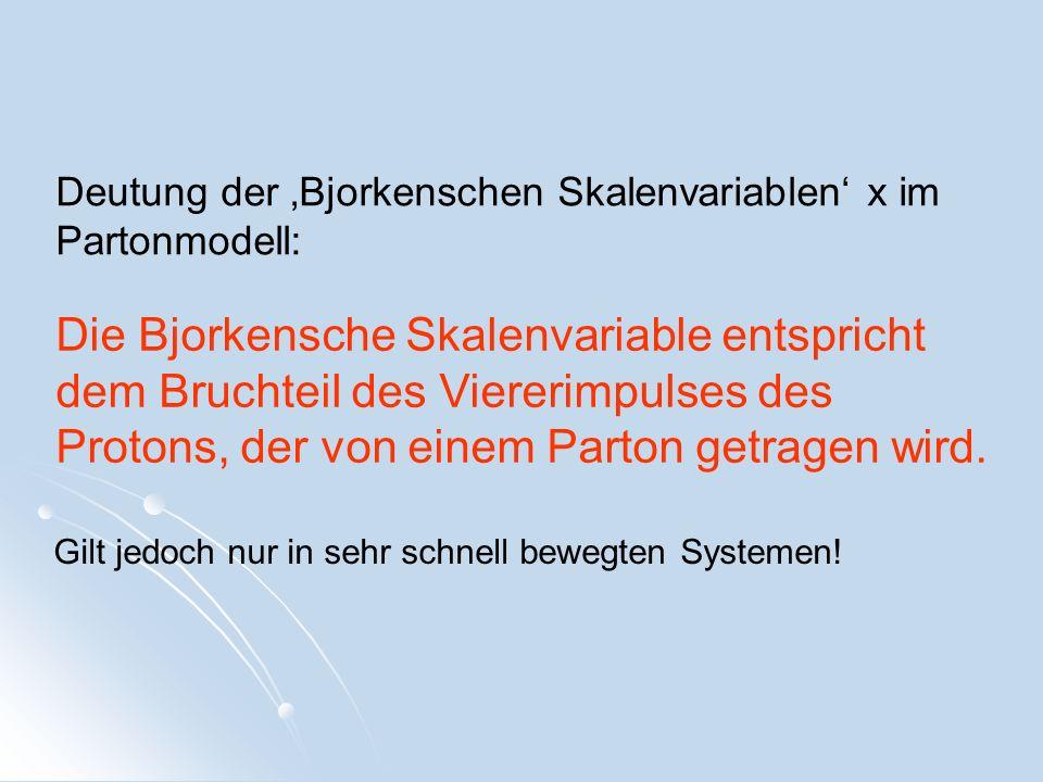 Deutung der 'Bjorkenschen Skalenvariablen' x im Partonmodell: