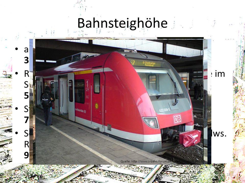 Bahnsteighöhe alt sowie im Bereich der RegioTram Kassel: 38 cm