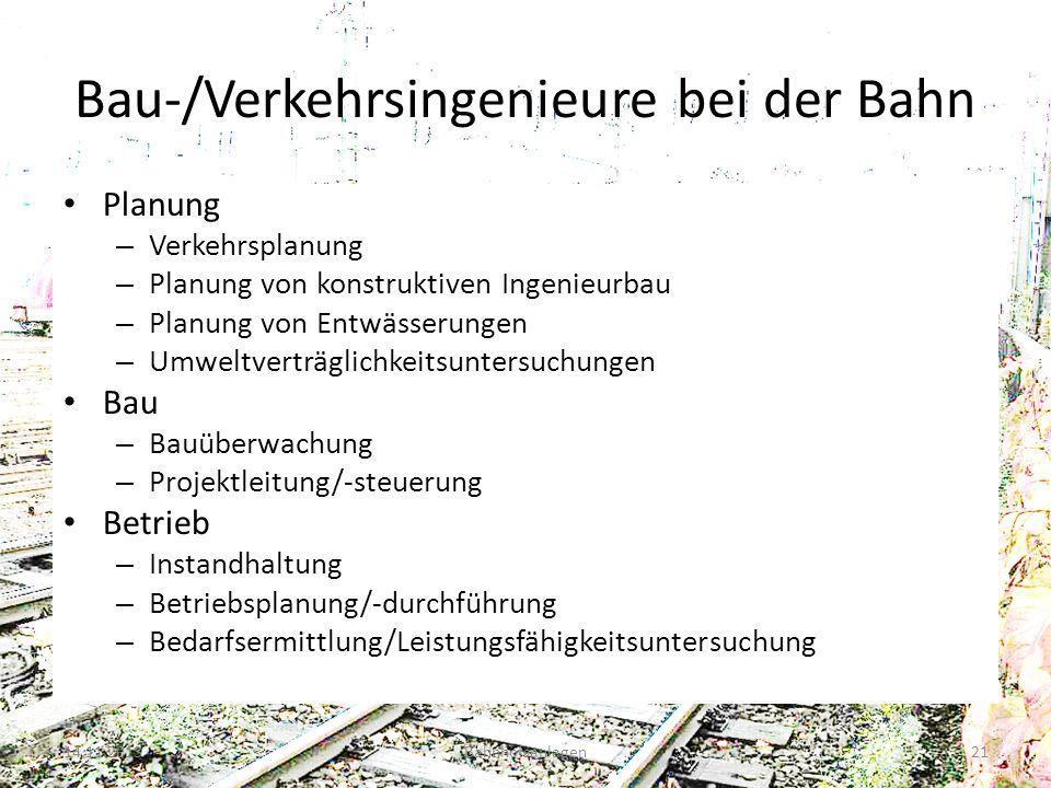 Bau-/Verkehrsingenieure bei der Bahn
