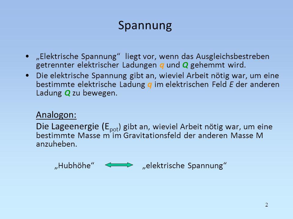 """Spannung """"Elektrische Spannung liegt vor, wenn das Ausgleichsbestreben getrennter elektrischer Ladungen q und Q gehemmt wird."""
