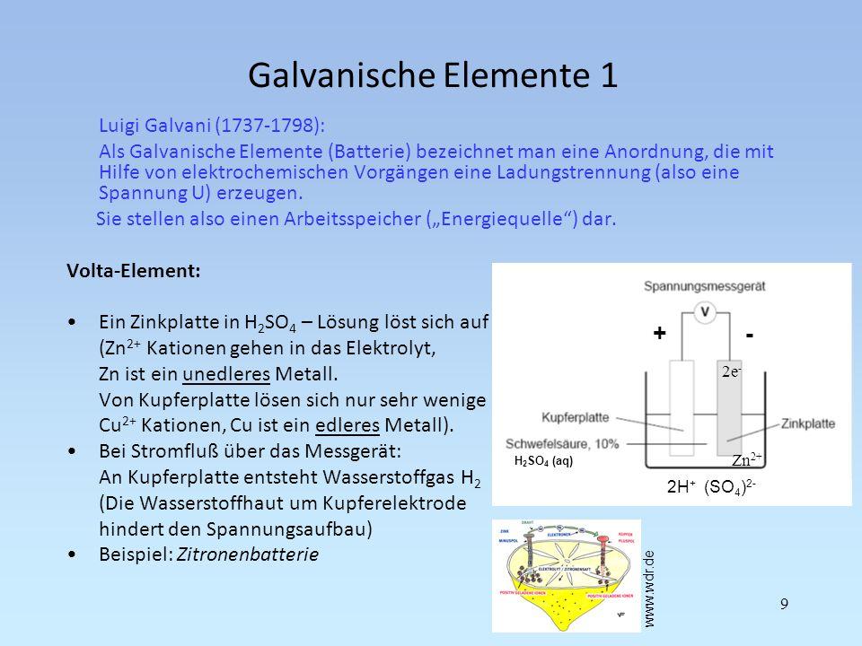 Galvanische Elemente 1 + - Luigi Galvani (1737-1798):