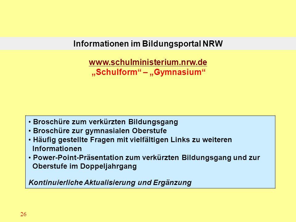 Informationen im Bildungsportal NRW