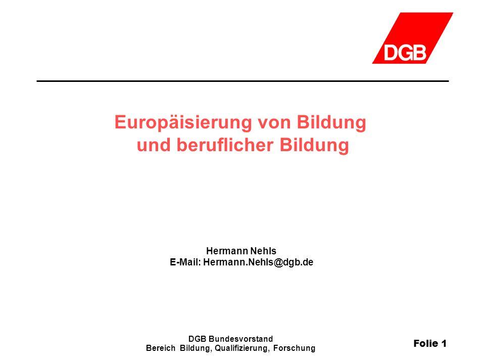 Europäisierung von Bildung und beruflicher Bildung