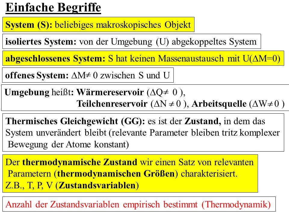 Einfache Begriffe System (S): beliebiges makroskopisches Objekt