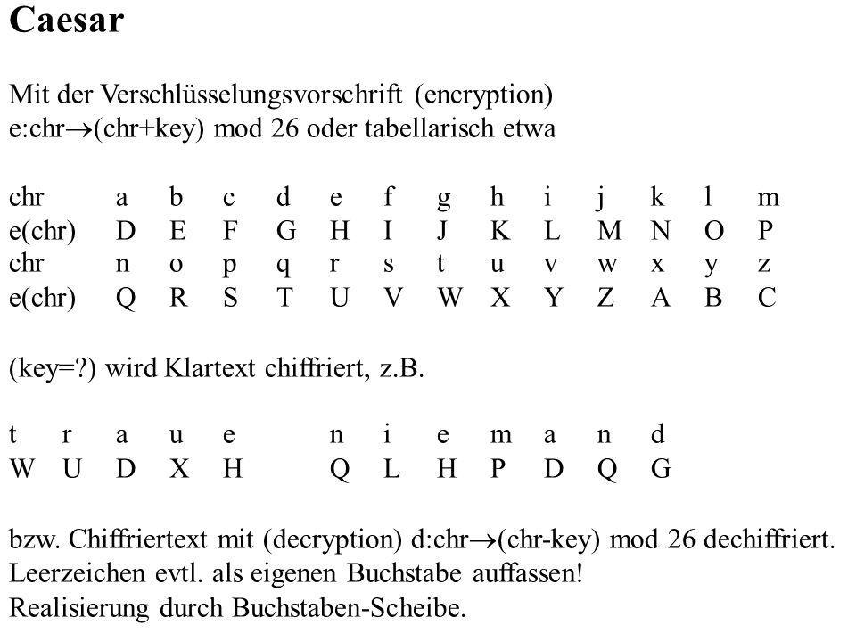 Caesar Mit der Verschlüsselungsvorschrift (encryption)