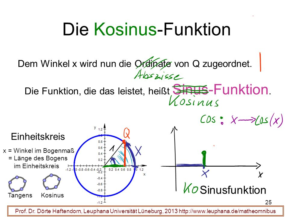 Die Kosinus-Funktion Sinusfunktion