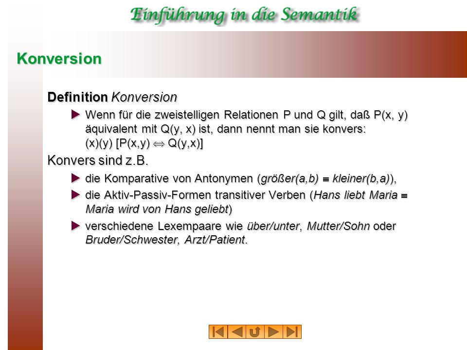 Konversion Definition Konversion Konvers sind z.B.