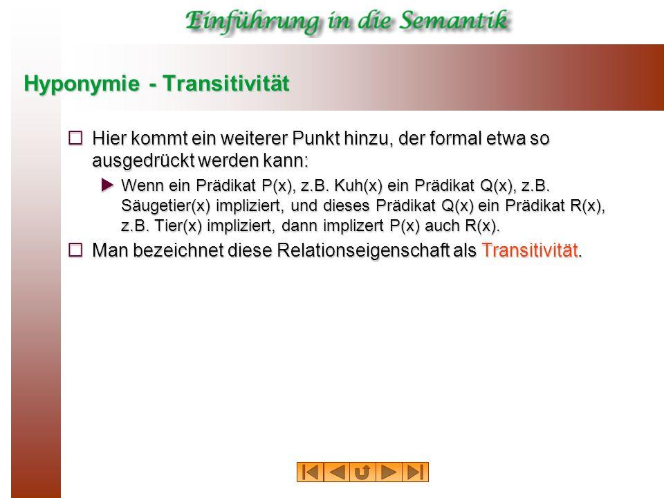Hyponymie - Transitivität