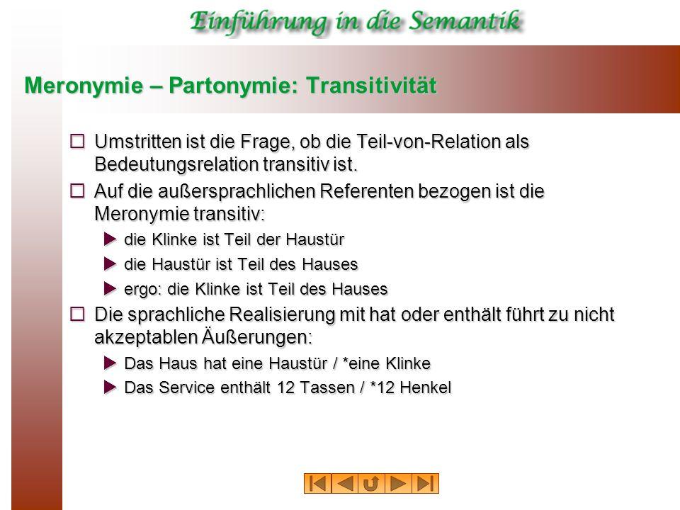 Meronymie – Partonymie: Transitivität