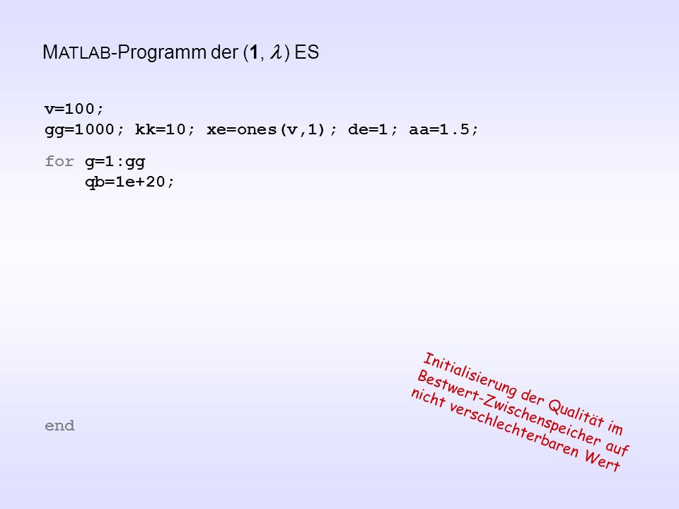 MATLAB-Programm der (1, l ) ES