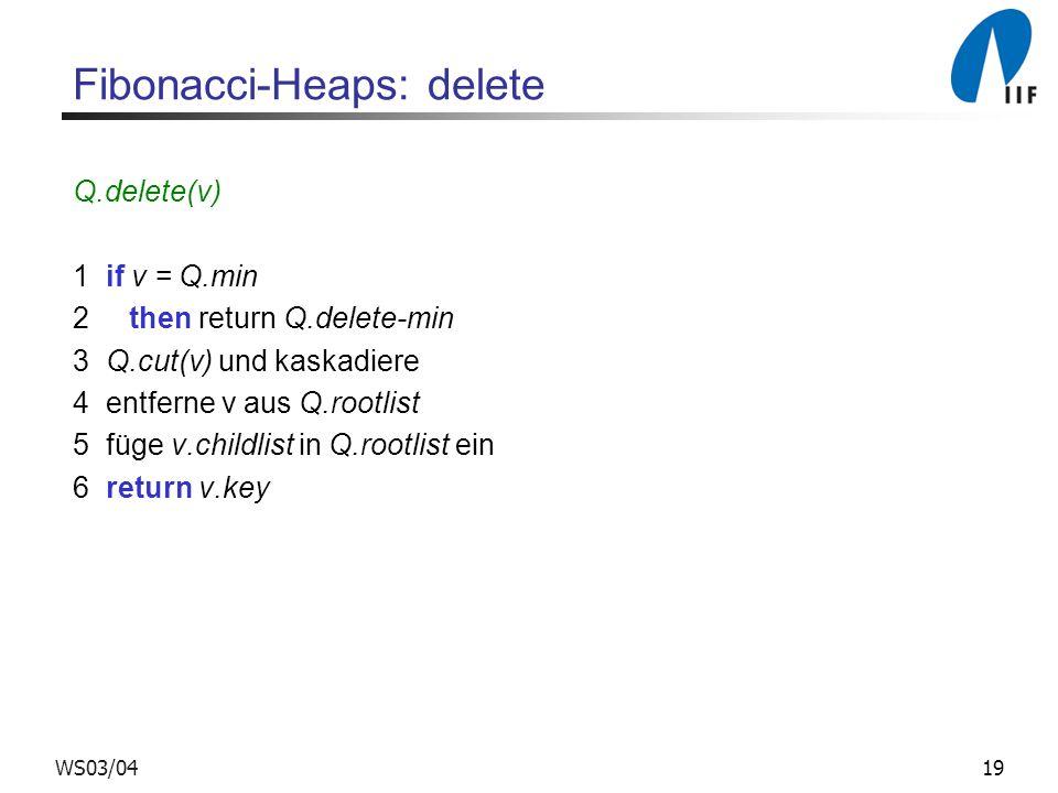Fibonacci-Heaps: delete