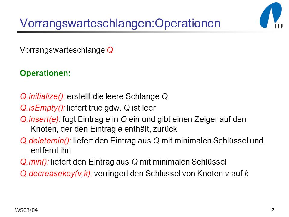 Vorrangswarteschlangen:Operationen