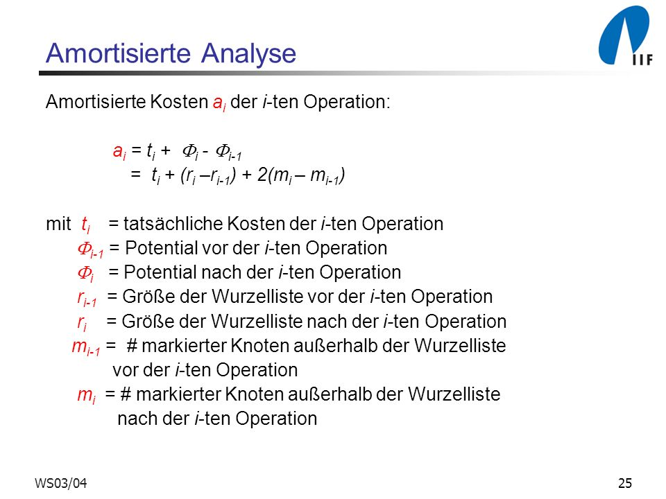 Amortisierte Analyse Amortisierte Kosten ai der i-ten Operation: