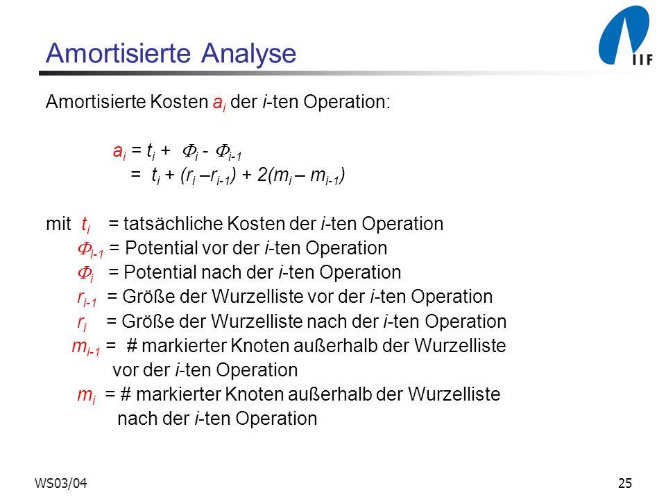 Amortisierte Analyse Amortisierte Kosten ai der i-ten Operation: