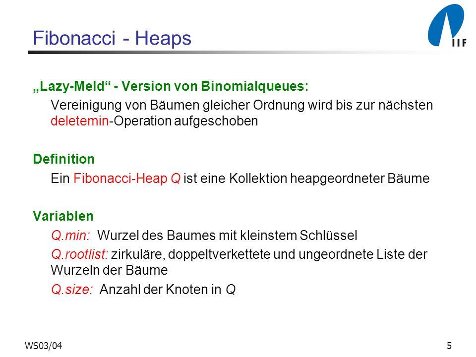 "Fibonacci - Heaps ""Lazy-Meld - Version von Binomialqueues:"