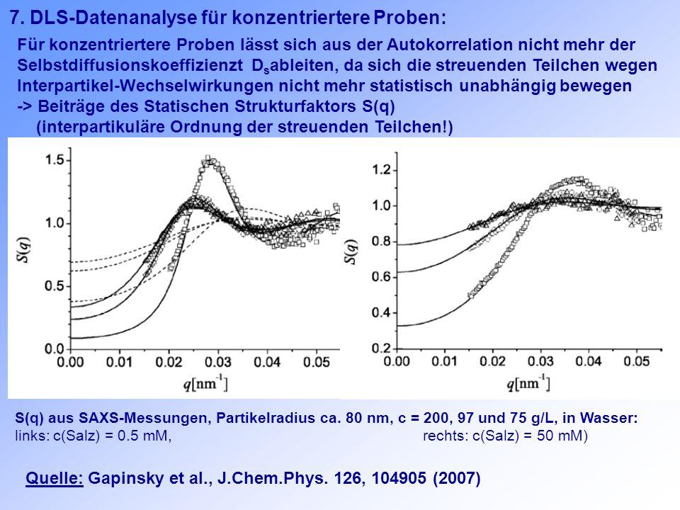 7. DLS-Datenanalyse für konzentriertere Proben: