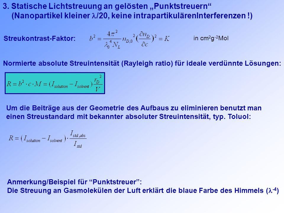 """3. Statische Lichtstreuung an gelösten """"Punktstreuern"""