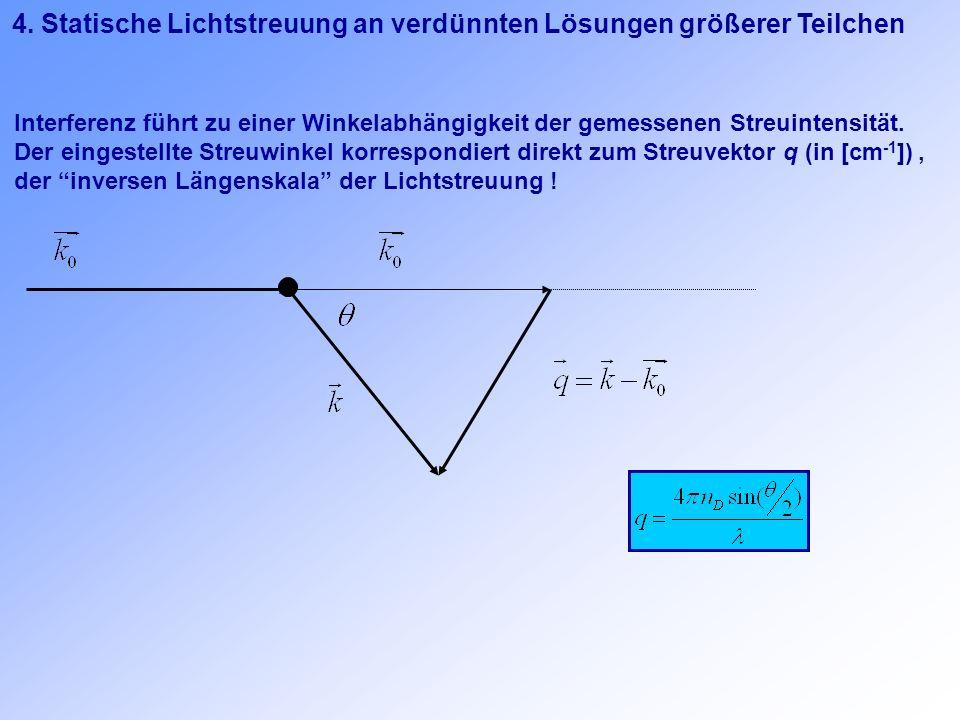 4. Statische Lichtstreuung an verdünnten Lösungen größerer Teilchen