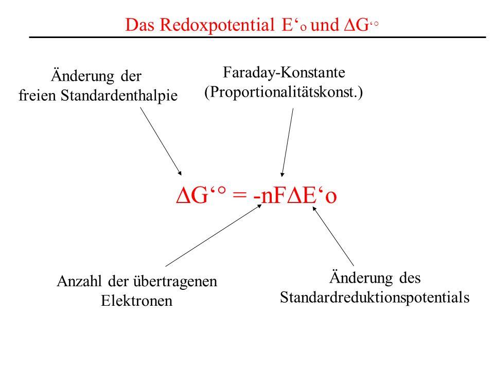 DG'° = -nFDE'o Das Redoxpotential E'o und DG'° Faraday-Konstante