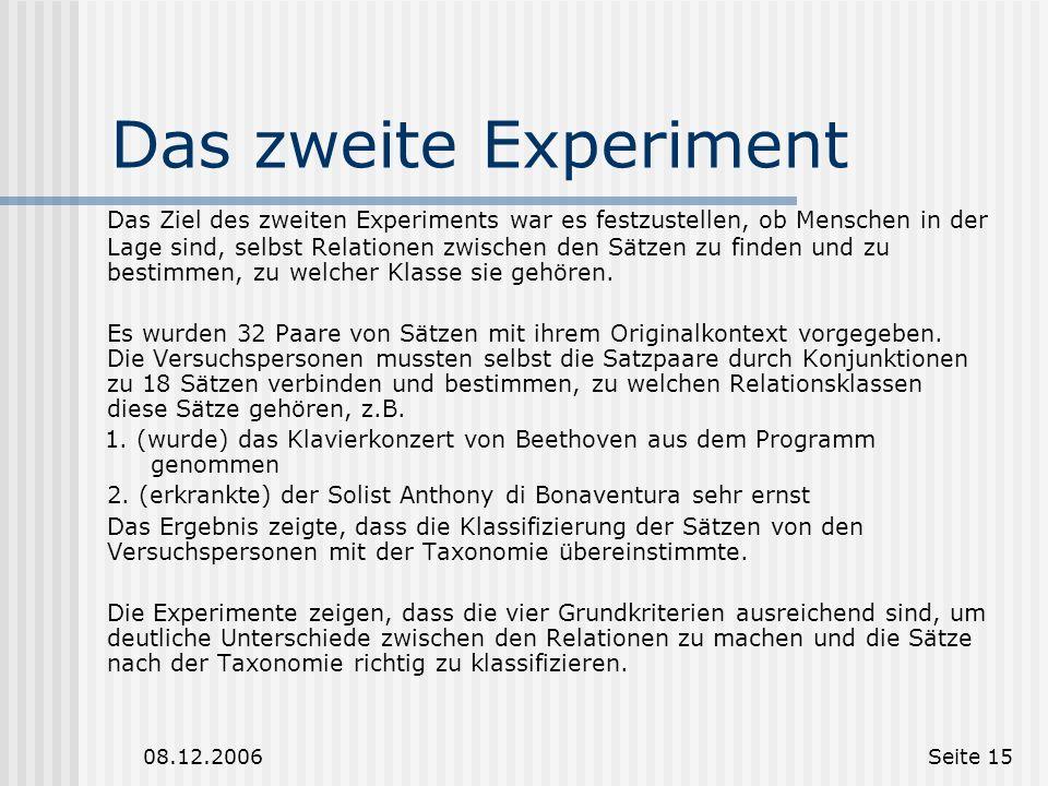 Das zweite Experiment