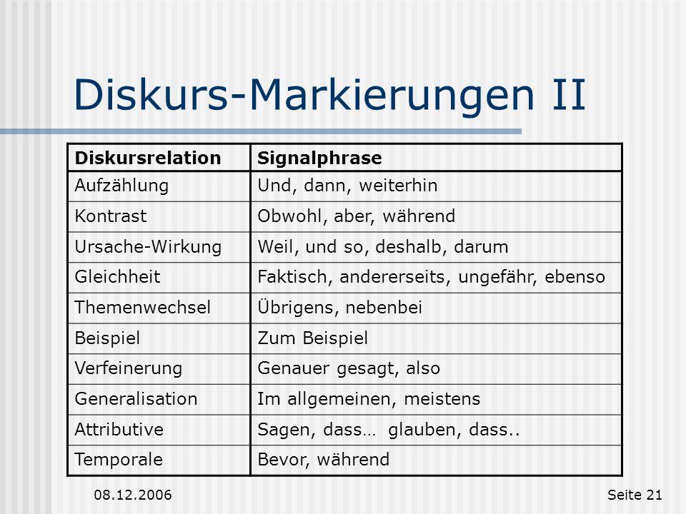 Diskurs-Markierungen II
