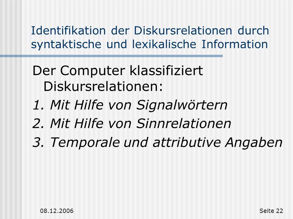 Der Computer klassifiziert Diskursrelationen: