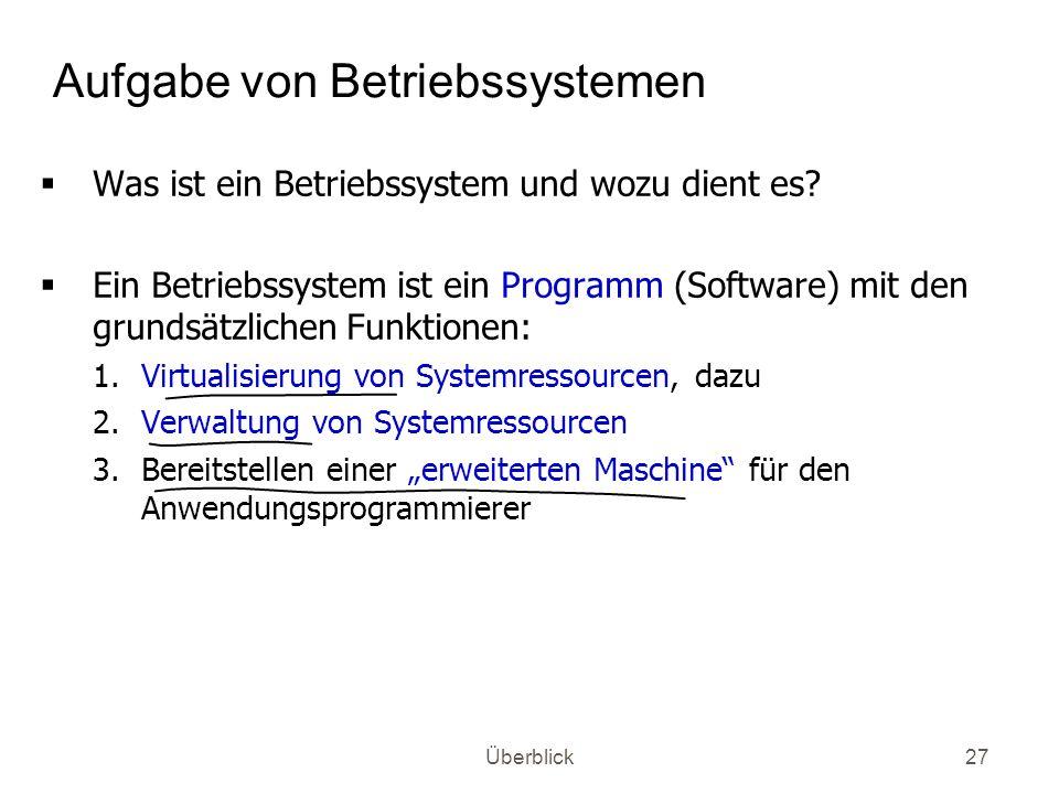 Aufgabe von Betriebssystemen