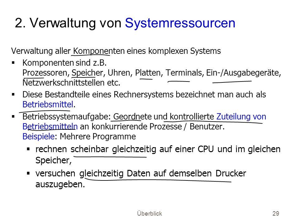 2. Verwaltung von Systemressourcen