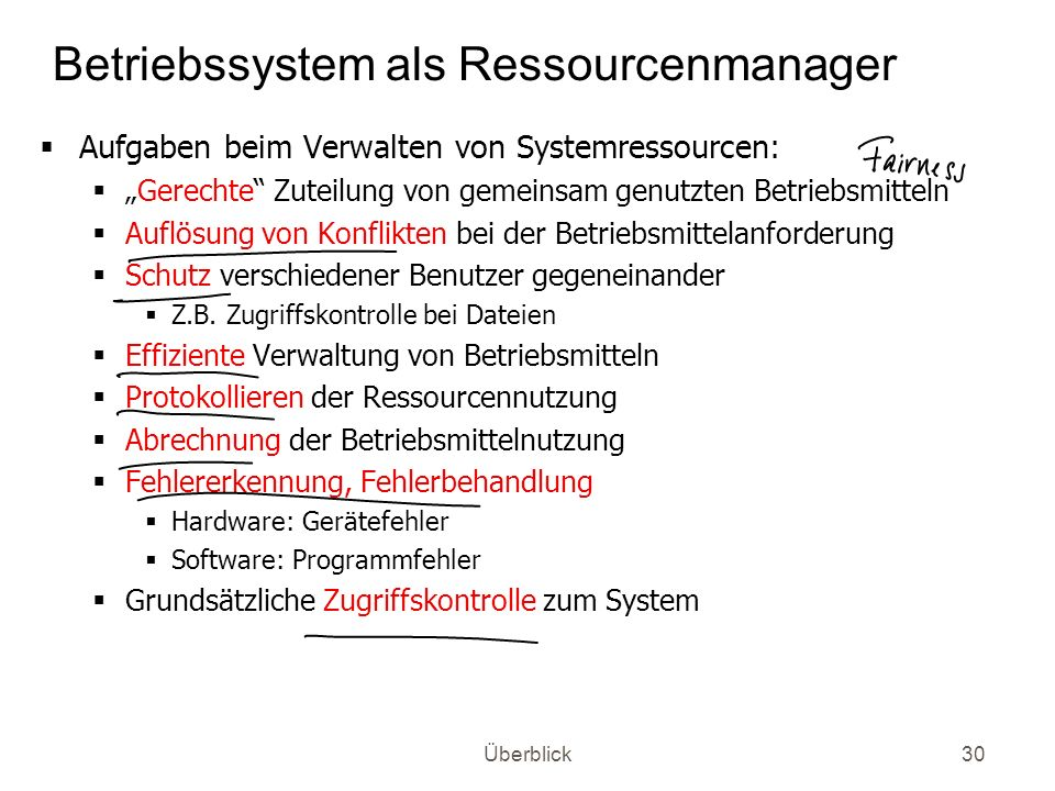 Betriebssystem als Ressourcenmanager