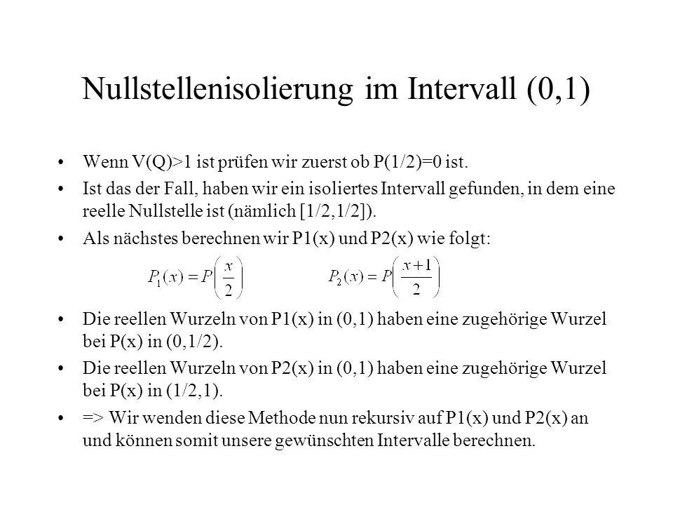 Nullstellenisolierung im Intervall (0,1)